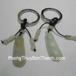 Móc khóa đậu hà lan đá quý Cẩm Thạch phong thủy S091