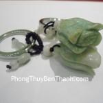 Móc khóa hoa chuông đá quý Cẩm Thạch phong thủy S085